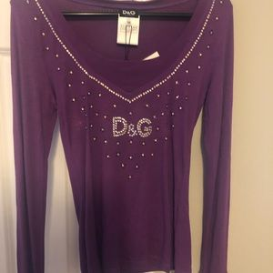 Dolce and Gabbana purple long sleeved crystal top